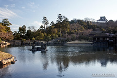 Hikone Castle Beyond The Garden (DMeadows) Tags: davidmeadows dameadows davidameadows dmeadows japan japanese hikone castle history historic defence tourist tourism visit asia trip travel building buildings architecture water reflect reflection reflections fish ripples tree trees wood woodland wooden leaves garden gardens
