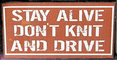 STAY ALIVE..... (Daisy.Sue) Tags: winter2017 decal stayalive dontknitanddrive redwhite vehicle black sticker