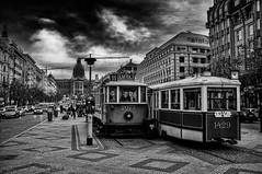 Prague streets 2. Café Tramvaj (Petr Horak) Tags: tram x100 monochrome street café fuji blackandwhite normallens square prague bw praha středočeskýkraj czechia cze