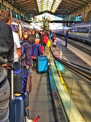 Paris  France ~ Eurostar boarding for London England  ~  300 KM  ~  186 MPH (Onasill ~ Bill Badzo ~ Enough ~ OFF) Tags: france paris train station depot luggage eurostar english channel railway london england tunnel united kingdom british terminal onasill monument travel tourist unitedkingdom