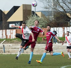 Phil Barclay committed to winning the high ball (Stevie Doogan) Tags: clydebank cumbernauld utd mcbookiecom west scotland league superleague first division holm park saturday 15th april 2017 bankies scottish juniors