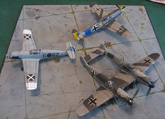 trio of group build Messerschmitts (gnomemeansgnome) Tags: airfix amodel revell gnomemeansgnome messerschmittmebf109 zwilling condorlegion jumoschmitt