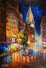 New York Heartbeat, Art Painting / Oil Painting For Sale - Arteet™ (arteetgallery) Tags: arteet oil paintings canvas art artwork fine arts background old architecture grunge buildings retro water city texture boat vintage town night newyork citys street cities impressionism orange blue paint