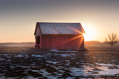 plain old red barn (Christian Collins) Tags: snow barn plain red truck sunset orange tree winter february michigan midmichigan countryside country farm metalroof field campo canoneos5dmarkiv ef24105mmf4lisusm
