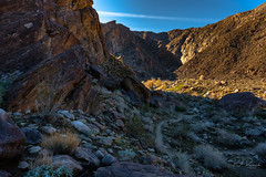 Tahquitz Canyon II (PJ Resnick) Tags: palmsprings20162017 perryjresnick tahquitzcanyon pjresnickgmailcom pjresnickphotographygmailcom ©2017pjresnick ©pjresnick 16mm xf16mmf14r nature pjresnick light fuji fujifilm digital shadow texture shadows yellow angle perspective naturallight white xf fujinon resnick plant outdoor green brown orange rectangle rectangular color colour landscape canyon rock sky clouds blue xpro2 fujifilmxpro2 fujinonxf16mmf14r desert ca rockformation sand subtlecolors desertcolors red 4x6 provia fujifilmprovia mountain trail