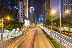 Always On The Move (Tim van Zundert) Tags: causewaybay central road lighttrails trees cars light night evening longexposure architecture building streetlights bankofchina cityscape city skyline hongkong china sony a7r voigtlander 21mm ultron