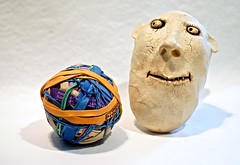 Face Pondering a Ball of Rubber Bands (ricko) Tags: face ceramic folkart rubberbands surreal werehere 106365 2017