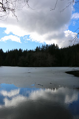 Rice Lake - North Vancouver, Canada (The Web Ninja) Tags: lowermainland canada travel travelphotography travelling photo photography photograph bc british columbia explore explorebc canon canon70d lynncanyon lynnvalley northvan northvancouver northvancity lynn canyon mountains mountain nature landscape green mtseymour mountseymour ricelake rice lake reflections reflection clouds cloudy frozenlake frozen ice