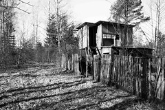 Noone lives here anymore (MarxschisM) Tags: blackwhite gardenhut old abandoned deserted decay wooden fence latvia ķemeri