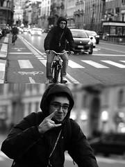 [La Mia Città][Pedala] sorridendo e salutando (Urca) Tags: milano italia 2017 bicicletta pedalare ciclista ritrattostradale portrait dittico bike bicycle biancoenero blackandwhite bn bw 993137 nikondigitale scéta sorridendo salutando