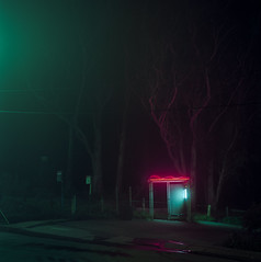 Terminus (C A Soukup) Tags: 120 6x6 hasselblad sanfranciscio acertainstillness almostcinematic busstops filmisnotdeadbutwewillbesoon mediumfformatformat nightphotography porta160 terminus