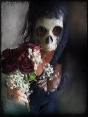A rose for you (Kat McClelland) Tags: darkart rose goth skull