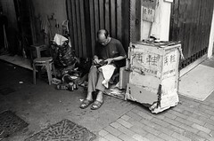 (David Davidoff) Tags: people street life oldman elderly shoesrepair hardwork hardlife hongkongcraftsman