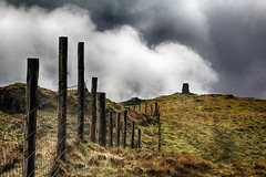 Waun-oer (OutdoorMonkey) Tags: summit cairn peak fence grassland mountain cloud sky landscape hilltop dyfi snowdonia wales outside outdoor countryside dramatic moody