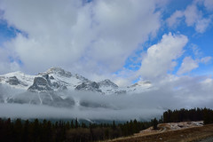 Snow covered mountain (drafiei1) Tags: mountain mountains banff banffnationalpark cloud clouds blue sky bluesky trees tree scenery scene landscape fog snow ice spring winter cold beautiful beauty
