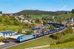 Last Mile cars (Elmeon) Tags: e187 001 bls locomotiva elettrica bombardier traxx 3 lm lastmile treno merci carri auto trnava mulhouse ferrovia stazione effingen sbb cff ffs colline hills argovia aargau svizzera switzerland train freight railway bahn zug