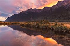 Mirror Lakes reflection (polandinthelens) Tags: milfordsound mirrorlake newzealand autumn colors mountains refelction sunset