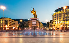 Macedonia Square (Nenad Bogoevski Photos) Tags: skopje macedonia square plostad alexander aleksandar night long exposure lights city center fountain monument explored