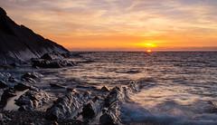 Golden moments (SimonLea2012) Tags: beach rocks longexposure colour orange gold sunset sea ocean light goldenlight