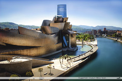 Museo Guggenheim Bilbao (VandenBerge Photography (On/off ....but mostly off) Tags: spain basquecountry bilbao architecture building city cityscape river theiberdrolatower riadebilbao europe canon spring water sky mountains maman guggenheim