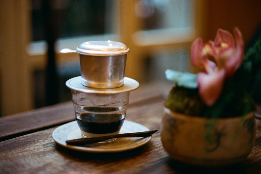 A traditionally served coffee in Vietnam with steel filter