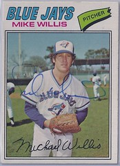 1977 O-Pee-Chee - Mike Willis #103 (Jays 28th pick in the 1976 expansion draft) (different photo - was on a 4 prospect rookie card in 1977 set) - Autographed Baseball Card (WhiteRockPier) Tags: baseball card signed autographed torontobluejays opc opeechee