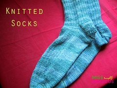 Blue and Grey Knitted Socks (Miss  ) Tags: socks knitting knitted