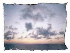 Polaroid Emulsion Lift - Caribbean Sunset (Brock5604) Tags: polaroid fuji colorpack instant film transfer emulsion lift experimental experiment art artistic watercolor modpodge ocean beach bahamas tropical island carnival cruise paradise summer vacation sky clouds sunset sun colors water evening afternoon dusk twilight pretty beautiful outdoor