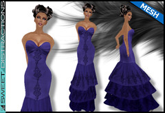 Mesh Tiered Lace Mermaid Gown in Blue (Sweet Distractions) Tags: life mesh sweet lace sl bridesmaid second gown mermaid rigged distractions