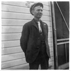 Man with white tie (Meyersdale Public Library) Tags: people men hats 1908 1900s porches photobox2 mccunealbum