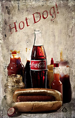 02352-51-Hot Dog and Cold Coca Cola-1 (Jim would like to get on Explore this year) Tags: pictures old hot color art america photoshop advertising photography hotdog bottle bottles photos sauce coke pic popart faded americana mustard condiments canon5d cocacola cokebottles catchup 2013