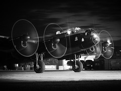 On to Berlin (gooey_lewy) Tags: avro lancaster heavy bomber melin engine propeller running night blur speed aircraft plane war bird neil cave lincolnshire aviation center centre east kirkby airfield spot lights just jane black white mono monochroms b w monochrome tle