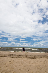 Pixe visits with Erie (Michael W. May) Tags: love beach water clouds sand nikon waves lakeerie pixie greatlake nickleplatebeach d7000 summeroflove2013