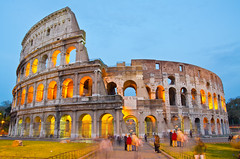 Colosseum at Dusk, Rome Italy (Assawin Ritter Knight.) Tags: morning italy rome roma building brick history classic tourism monument stone wall architecture facade evening twilight ancient ruins europe theater italia arch roman dusk stadium antique stage famous landmark medieval historic colosseum arena coliseo empire coliseum column amphitheater archeology destroyed sights colisseum daybreak gladiator colosseo coliseu antiquity flavian