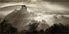 Clearing Mists (Chris Beard - Images) Tags: uk morning bw mist monochrome sunrise landscape dawn blackwhite dorset mists corfecastle recession mistydawn mistylandscape