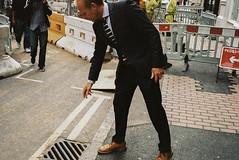 (Matt Obrey) Tags: street man colour film birmingham hand cigarette stripes voigtlander bessa streetphotography suit r4m birminghamstreet