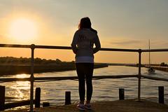 Reflecting (talksrm) Tags: sunset sun beach water girl beautiful set clouds jw jack boats evening twilight sand dusk jayne thinking teenager wills southwold teengirl jackwills
