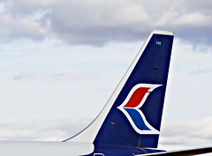 PWA B-737-200, Tail (flyvertosset) Tags: edmonton ab tails pwa boeing737200 pacificwesternairlines albertaaviationmuseum flyvertosset ac745ondisplay