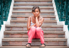 Caitlin on the stairs (Michael Echteld) Tags: portrait people holiday hot girl caitlin island michael spain natural bokeh availablelight naturallight tenerife relaxed canaries atlanticocean mixedrace echteld sonya700 sonyalpha700 michaelechteld tenerife2013 bookselecttenerife