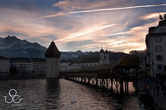 Chapel Bridge : Lucerne : Switzerland (Duke.of.arcH) Tags: bridge sunset lake switzerland luzern chapel lucerne