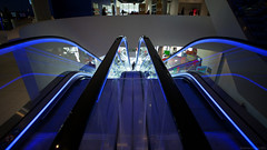 Neon Blue Escalator (DazaT) Tags: uk blue birmingham neon library escalator westmidlands thelibraryofbirmingham