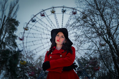 Alina (Ash and Debris) Tags: gloves hat portrait girl attraction beautiful nature urban city mood beauty park red contrast wheel
