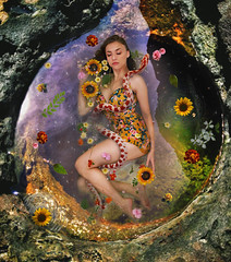 Dimethyltryptamine (Kelsey Ann Thomas) Tags: snake tidepool edit photoshop photography flowers water sun sunflowers leaves leaf rock ocean tide girl swim float sky space composite manipulation wrap death dimethyltryptamine instagram self portrait pool nature plants botanical botany