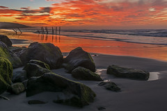The First Dunedin Sunrise of 2017 (Daniel P Froese) Tags: dunedin newzealand new zealand clair beach sunrise dawn picture pictures photo photos red image images reflection sun rocks waves ocean sky skies cloud seascape oceanview otago