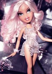 Let's All Chant! (alexbabs1) Tags: bratz dolls disco passion 4 fashion cloe wave 2 spring 2007 tan blonde cunt glam vibes paris hilton vintage 1970s 2000s ooak farrah crystal mini dress club ball sarah palins bangs