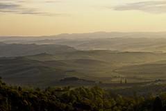 Golden Landscape from Montalcino (Antonio Cinotti ) Tags: leica leicat siena tuscany toscana italy italia sunrise montalcino dawn landscape campagnatoscana alba cretesenesi