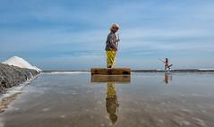 Reflection (Padmanabhan Rangarajan) Tags: marakkanam salt pans lady waiting working india pondicherry