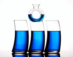 Blue (Karen_Chappell) Tags: blue glass glasses liquid white stilllife three circle round durve