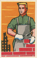 russian matchbox label (maraid) Tags: russia russian komsomol ussr sovietunion youth matchbox label packaging industry wall build bricklaying bricklayer building rebuild