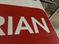 955. Pedestrian (thatianbloke) Tags: red uppercase sansserif pedestrian